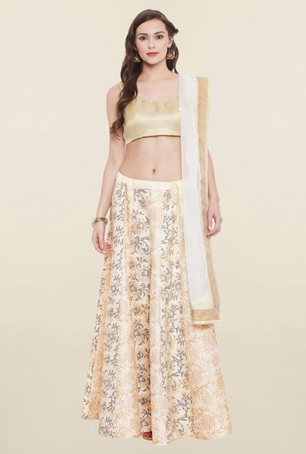 Studio Rasa Beige & Peach Semi Brocade Lehenga Set