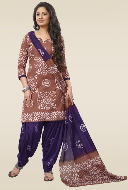 Salwar Studio Brown & Purple Dress Material