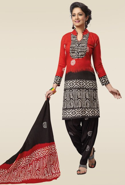 Salwar Studio Red & Black Batik Printed Dress Material
