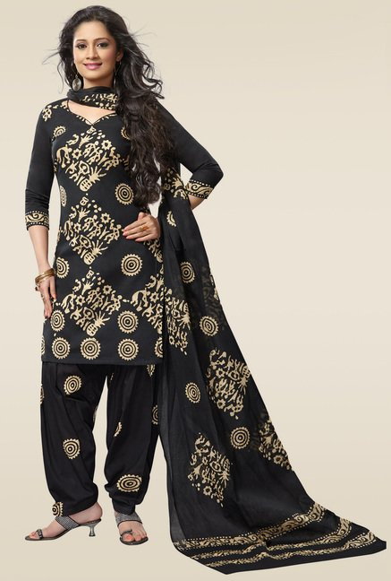 Salwar Studio Black & Beige Batik Printed Dress Material