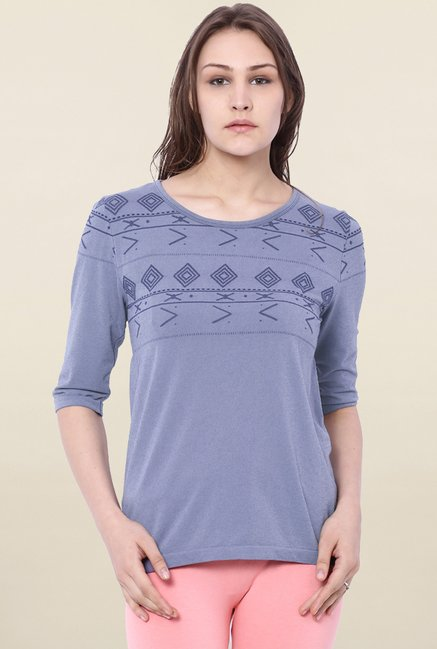 C9 Seamless Blue Embroidered Top