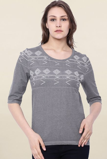 C9 Seamless Grey Embroidered Top