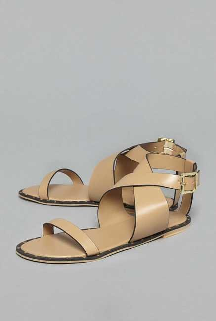 4aec79dee55f Buy Head Over Heels by Westside Beige Cross Strap Sandals For Women Online  At Tata CLiQ
