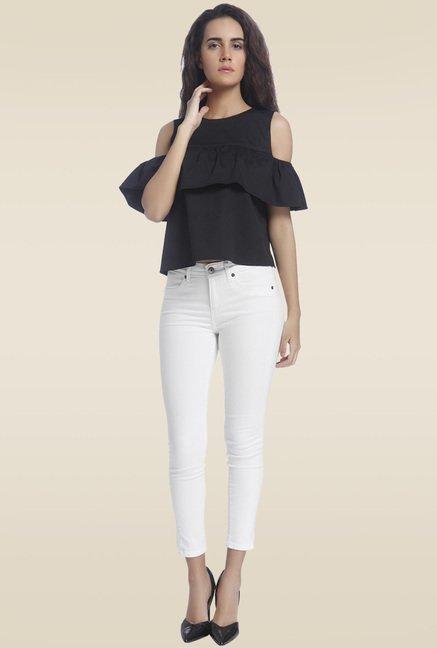f36817e221744b Buy Vero Moda Black Cold Shoulder Top for Women Online   Tata CLiQ
