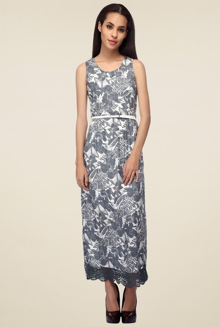 Mineral Grey Printed Maxi Dress