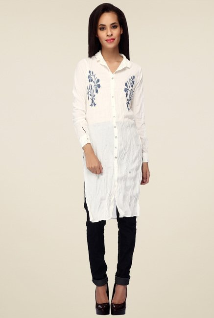 Mineral White Embroidered Shirt