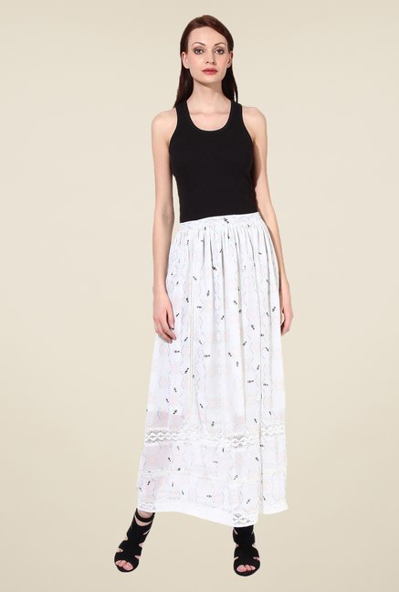 Oxolloxo White Printed Skirt
