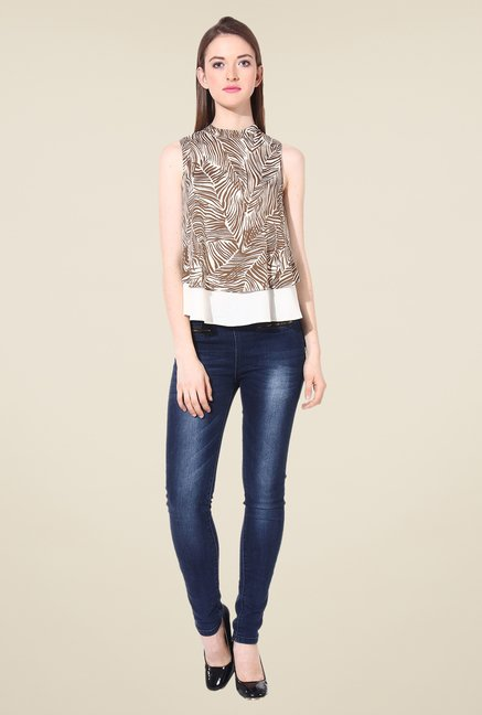 Oxolloxo Brown Printed Top