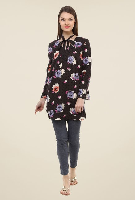 Oxolloxo Brown Floral Print Tunic
