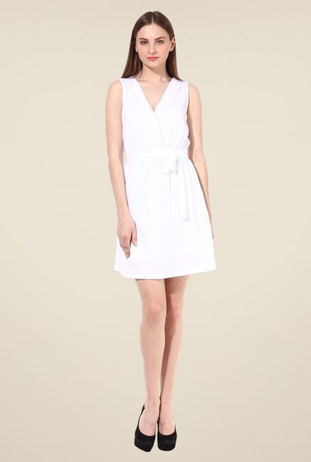 Oxolloxo White Solid Dress