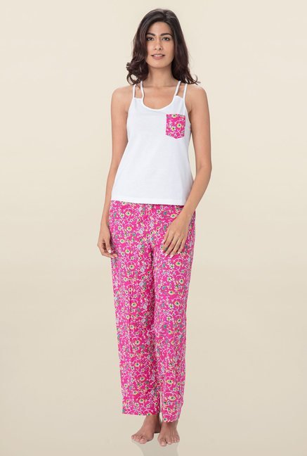 PrettySecrets White Solid Pyjama Set