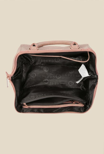 Caprese Peggy Dull Pink Textured Tote Bag