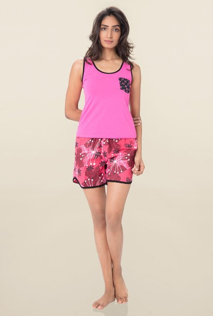 316220525a Buy PrettySecrets Pink Floral Print Shorts for Women Online   Tata ...