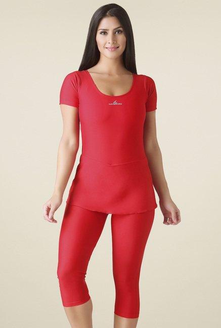 Lobster Red Short Sleeves Swimwear