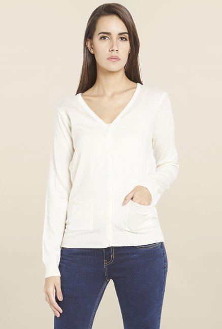 Globus Off White Solid Cardigan