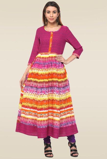 Homa Multicolor Round Neck Anarkali Kurta