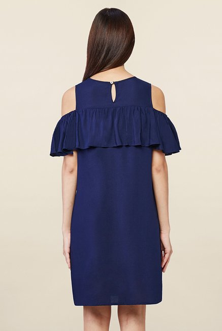 AND Navy Solid Dress