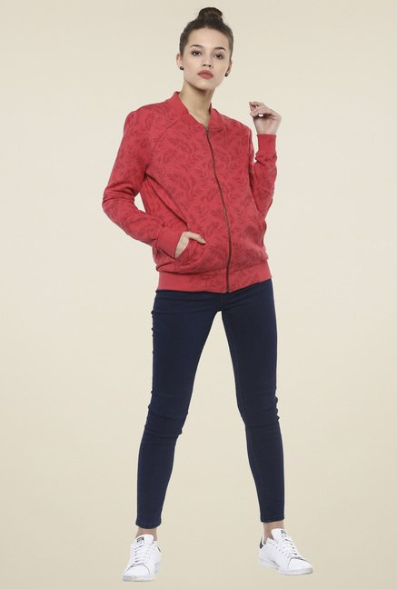 Femella Red Printed Bomber Jacket