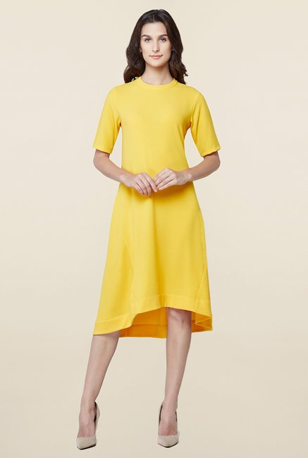 AND Yellow Textured Dress