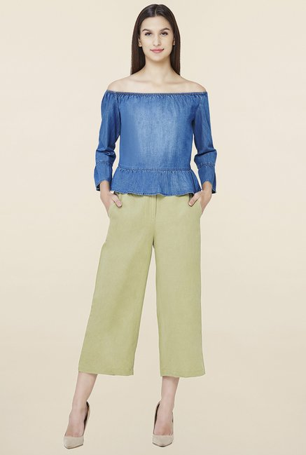 AND Olive Linen Culottes