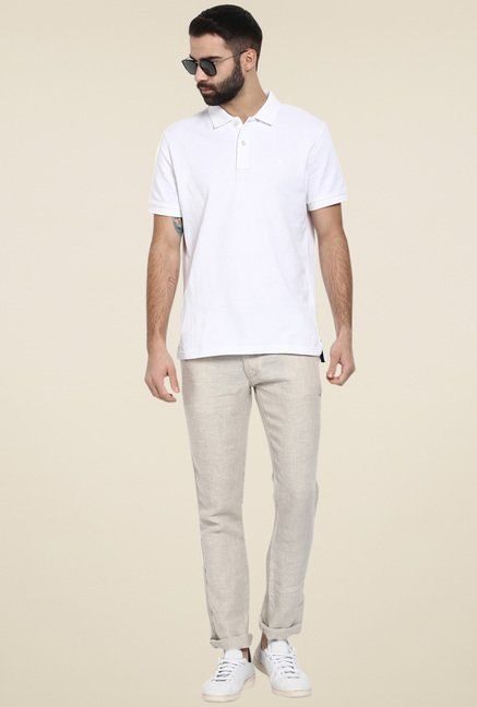celio* Beige Straight Fit Linen Chinos