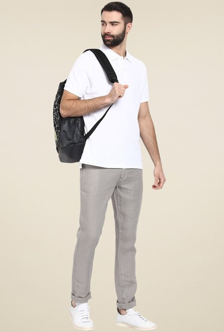 celio* Grey Straight Fit Linen Chinos