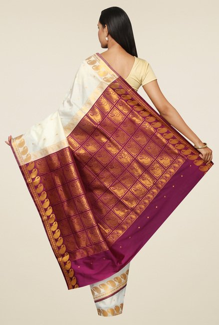 Pavecha Off-White Banarasi Zari Saree with Blouse