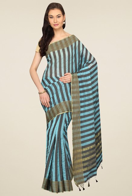 Pavecha Light Blue Banarasi Striped Saree