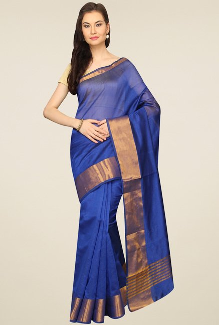 Pavecha Royal Blue Banarasi Zari Border Saree