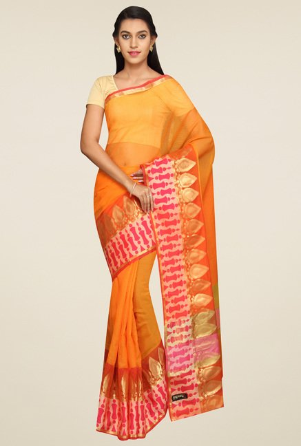Pavecha Orange Cotton Saree with Blouse