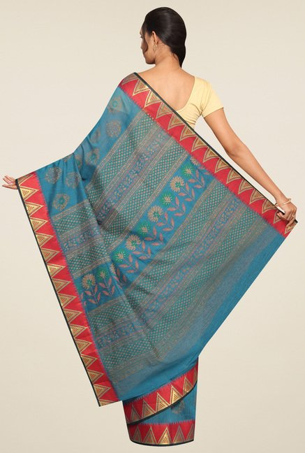 Pavecha Blue Zari Saree