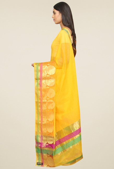 Pavecha Yellow Banarasi Saree