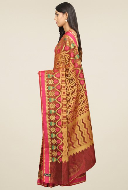 Pavecha Orange Banarasi Saree