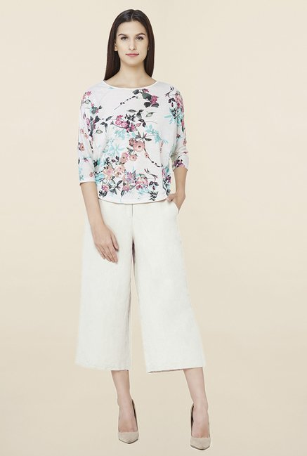 2bf40715fc9 Buy AND Off White Linen Culottes for Women Online   Tata CLiQ