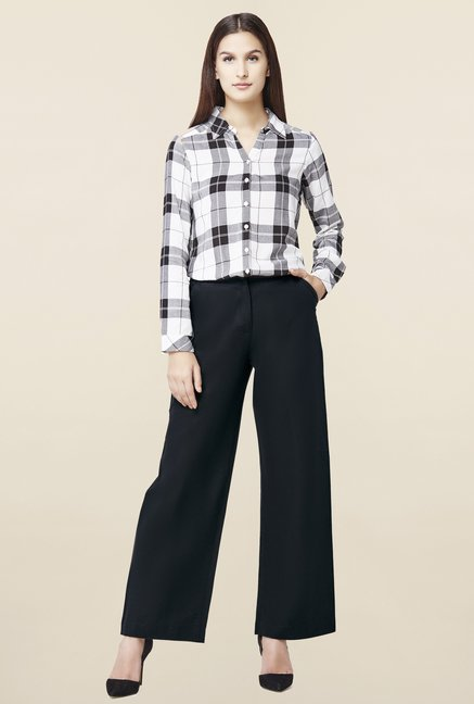 AND Black Linen Straight Pant