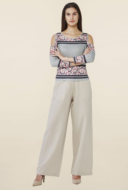 AND Beige Linen Straight Pant