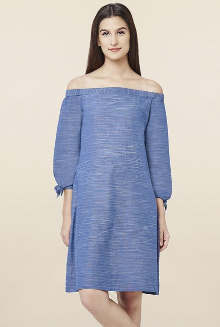 AND Blue Textured Dress