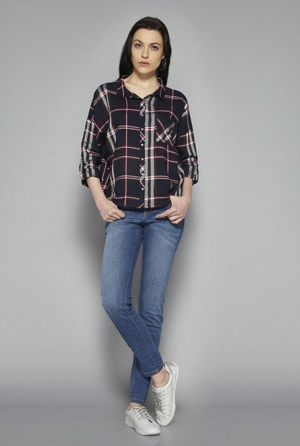 bb1cb4b6838d9 Buy Nuon by Westside Navy Bethany Shirt for Women Online   Tata ...