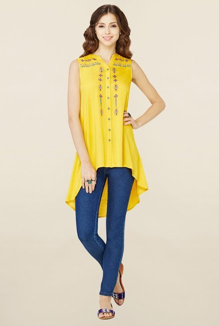 66a5a0f37fe Buy Global Desi Yellow Embroidered Tunic for Women Online @ Tata ...