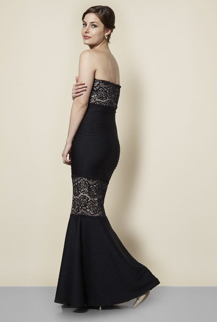 Lipsy Black Lace Long Dress