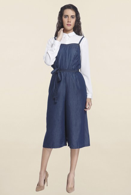 Vero Moda Blue Textured Jumpsuit