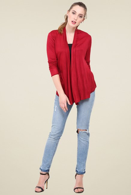 Trend Arrest Maroon Full Sleeves Shrug