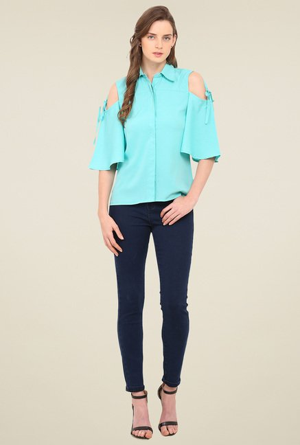Trend Arrest Green Shirt Collar