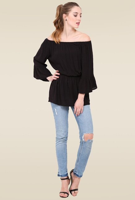Trend Arrest Black Off Shoulder Regular Fit Top