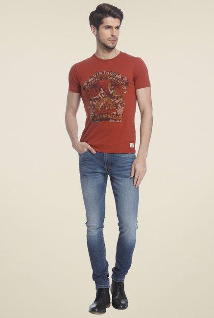 55709c89f152 Buy Jack & Jones Rust Slim Fit T-Shirt for Men Online @ Tata CLiQ