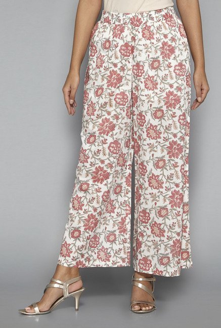 Zuba by Westside Peach Floral Print Palazzos