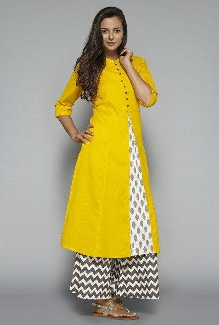 7f2533719 Buy Utsa by Westside Yellow Solid Kurta on TataCliq