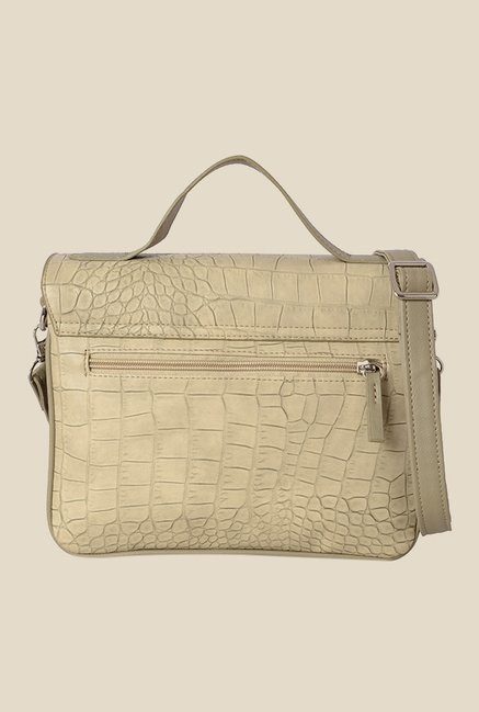 Baggit Mojito Croco Beige Synthetic Textured Sling Bag