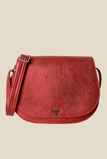 Baggit Paddle Precious Red Synthetic Solid Saddle Sling Bag