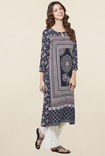 Global Desi Black Printed Kurta